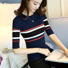 The new fashion knitted elastic t-shirts cultivate one's morality version Spell color stripe