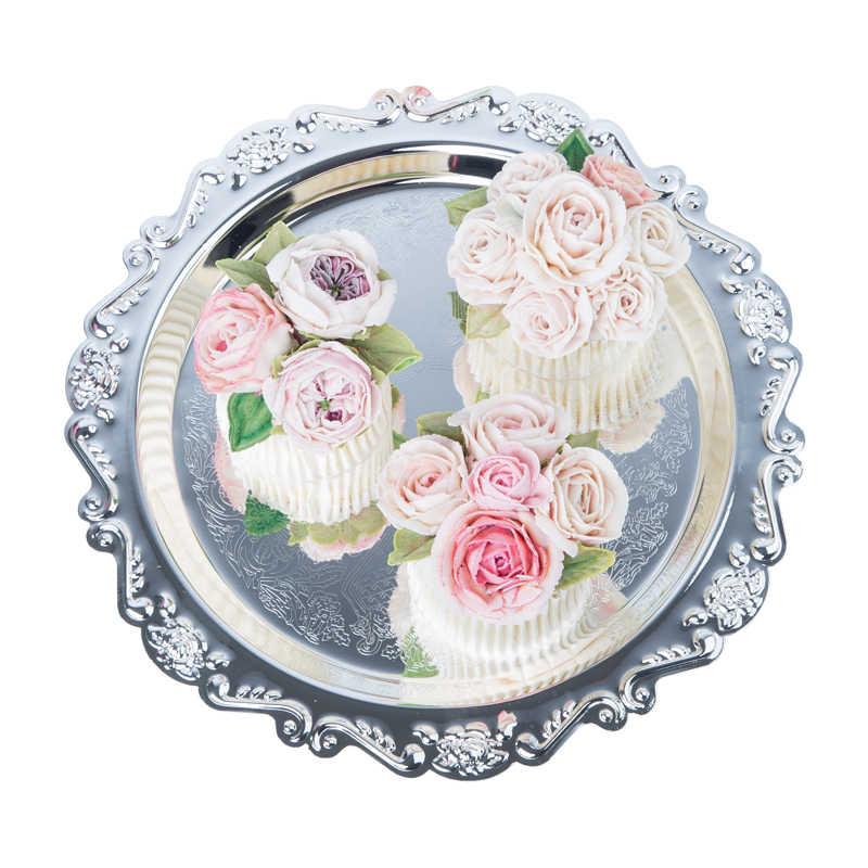Nordic Logam Pernikahan Penyimpanan Piring Desktop Skandinavia Perhiasan Mewah Kue Buah Penyimpanan Tray Organizer Dekorasi untuk Rumah
