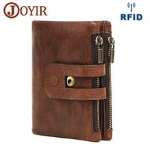 JOYIR Originální kožené muži Peněženka Vintage RFID krátké mince peněženku Pevný zip a Hasp ID držitele karty Multifunkční peněženka Carteras