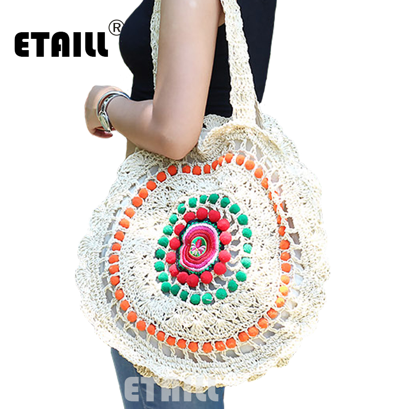 2017 Colorful Pompon Straw Beach Bag Embroidered Womens Summer Beach Bags Crochet Indian Hippie Boho Sweet Woven Shoulder Bag цена