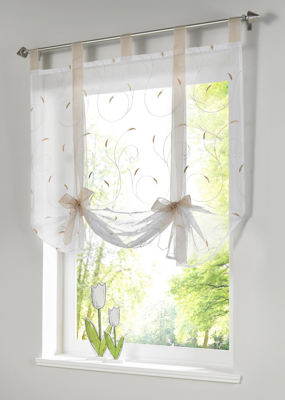Free Shipping New Arrival Embroidered Tab Top Sheer Kitchen Door Window Curtain Patchwork Liftering Roman Blinds In Curtains From Home Garden On