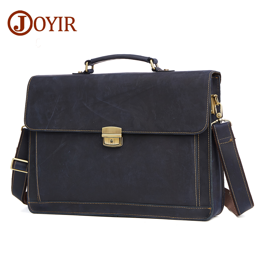 JOYIR Men's Briefcase Crazy Horse Genuine Leather Men's Business Bag Vintage Office Messenger Shoulder Bag For Male Men Handbag