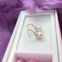 New Arrival AU750 Rose Gold Earrings 8mm Round Pearls Dangle Earrings
