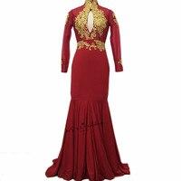 Boże narodzenie Burgundia Wysoka Neck Prom Dresses Z Długim Rękawem Złota Koronka Aplikacja Otwórz Wróć Syrenka Formalna Wieczór Suknie Vestidos de Gala