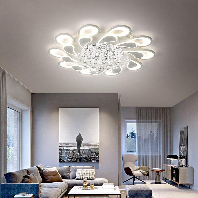 Хрустальные современные светодиодные потолочные светильники для гостиной, спальни, AC85-265V, lustre lamparas de techo avize, Хрустальные потолочные светиль...