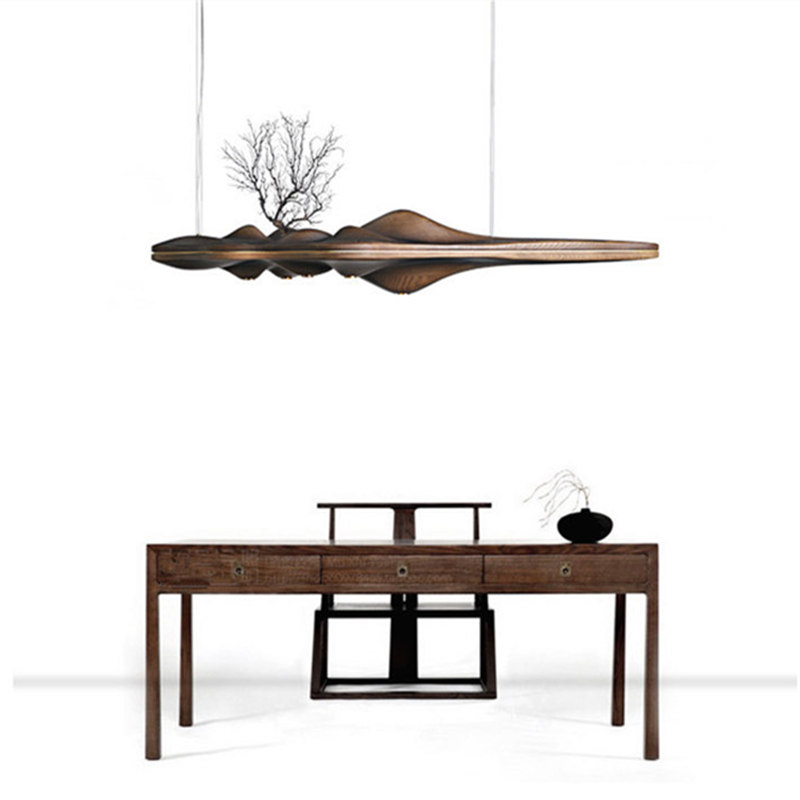 Wongshi Modern Solid Wood Pendant Light Chinese Japanese Nordic Creative Retro Branch Lamp For Dining Kitchen Island Wooden Lamp
