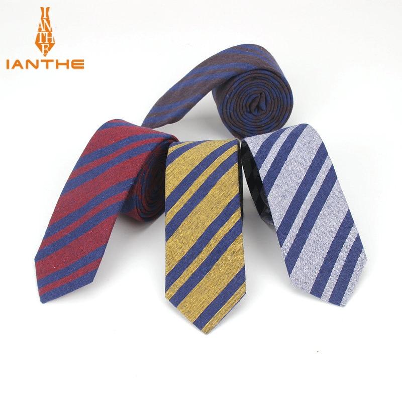6cm Brand New Men's Vintage Casual Cotton Striped Narrow Neck Ties For Man Fashion Wedding Suits Slim Necktie Classic Skinny Tie