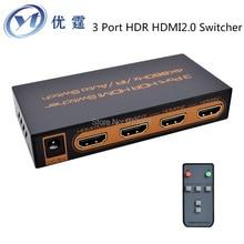 ФОТО 3 Port HDR HDMI20 Switcher 3x1 4K 2160P60HZ UHD Remote Button 3D 1080p HDMI14