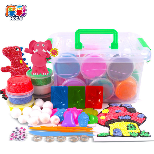 MC 24 Colors Air Dry Jumpimg Colored Clay Cold Porcelain Play Dough Playdough Children Foam Clay Kids Intelligent Plasticine