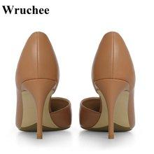 Wruchee Summer Women shoes low cut 8cm working shoes big size thin heels pumps women shoes