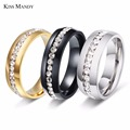 Twinkling Titanium Steel Sliver Ring with Rhinestone 5-11 Size Luxury jewelry for Woman And Man KR27