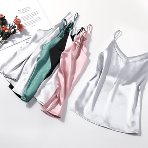 Image 5 - 2019 New Tank Top Women Sleeveless Top Sexy V neck Sling Vest Female Summer Wear Thin Section Loose Satin Silk Top Blouse