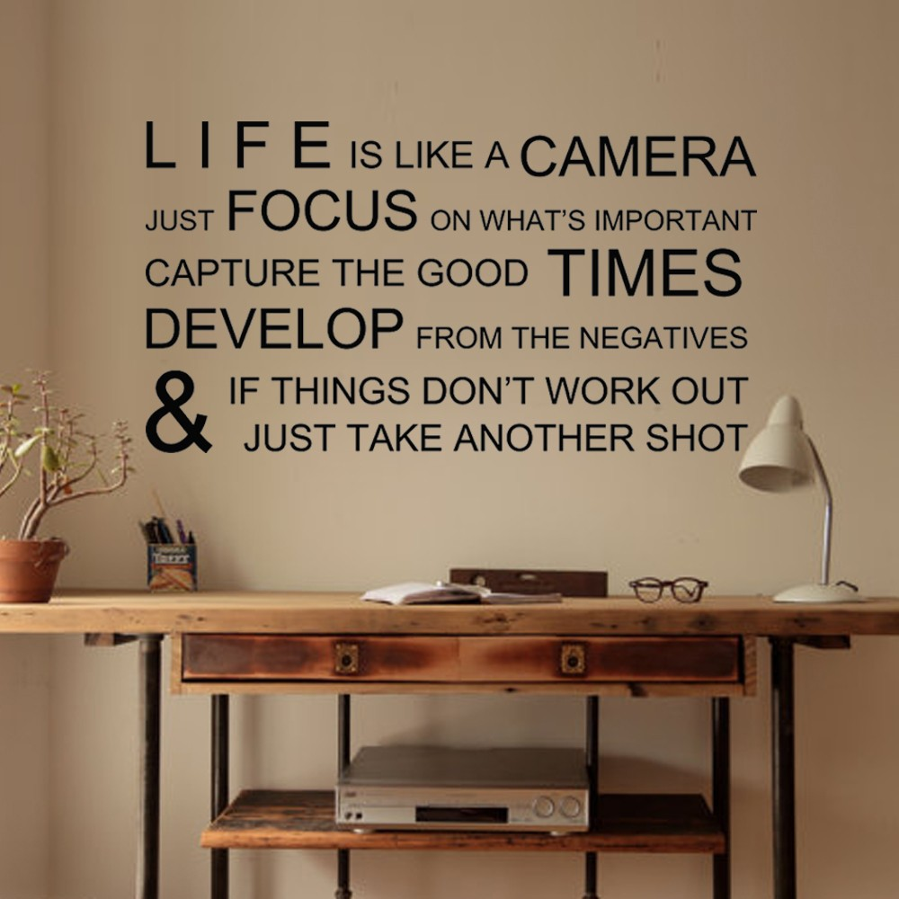 Life is like a camera inspirational wall stickers wall decals wall life is like a camera inspirational wall stickers wall decals wall quotes vinyl mural poster 28 x 52 m in hair clips pins from beauty health on amipublicfo Images