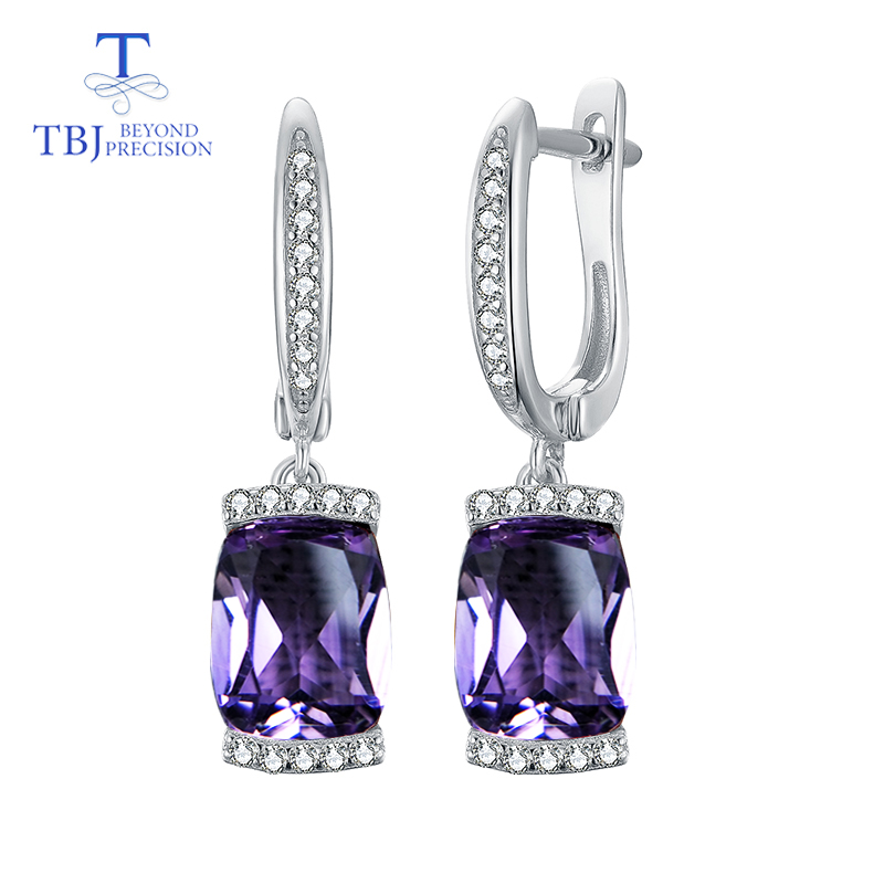 TBJ 2019 new design good color natural brazil amethyst real gemstone clasp earring 925 sterling for
