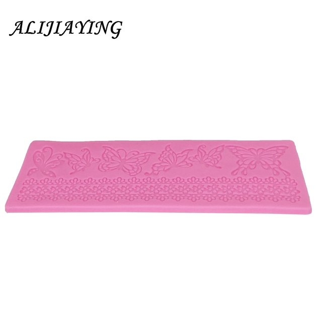 Hollow butterfly Flower Lace Mold Cake border Decoration tools Fondant Cake 3D Mold Food Grade Silicone mat Mould D0360