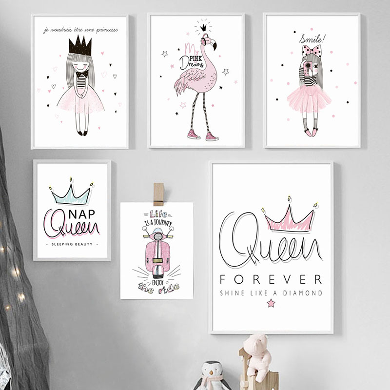 Kids Room Decoration Poster and Prints Queen Crown Flamingo Nursery Canvas Painting Nordic Cartoon Wall Art Home Decor