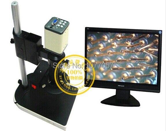 2.0MP 8X-100X HD Industry Microscope Camera VGA USB AV TV Video Output + C-Mount Lens + Stand Holder + Ring Illuminator PCB