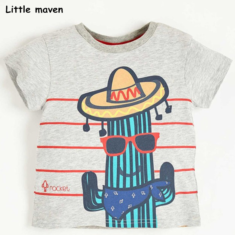 Little maven children clothes 2018 summer baby boys clothes short sleeve tee tops rocket print Cotton brand t shirt 51030