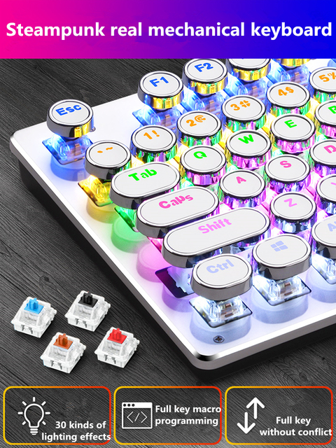 Steampunk real mechanical keyboard game round key notebook 104 key wired usb external computer desktop office