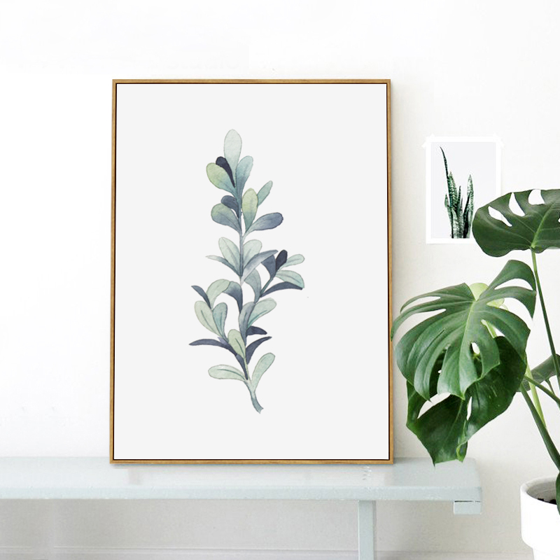 Elegant Poetry Watercolor Plant Leaves Canvas Painting Art Print Poster Picture Wall Painting Home Bedroom Wall Decoration in Painting Calligraphy from Home Garden