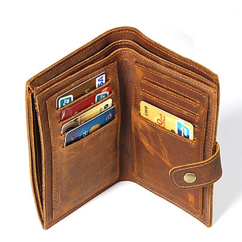 Hommes Long portefeuille vintage Femmes Véritable portefeuille en cuir Mâle portemonnaie
