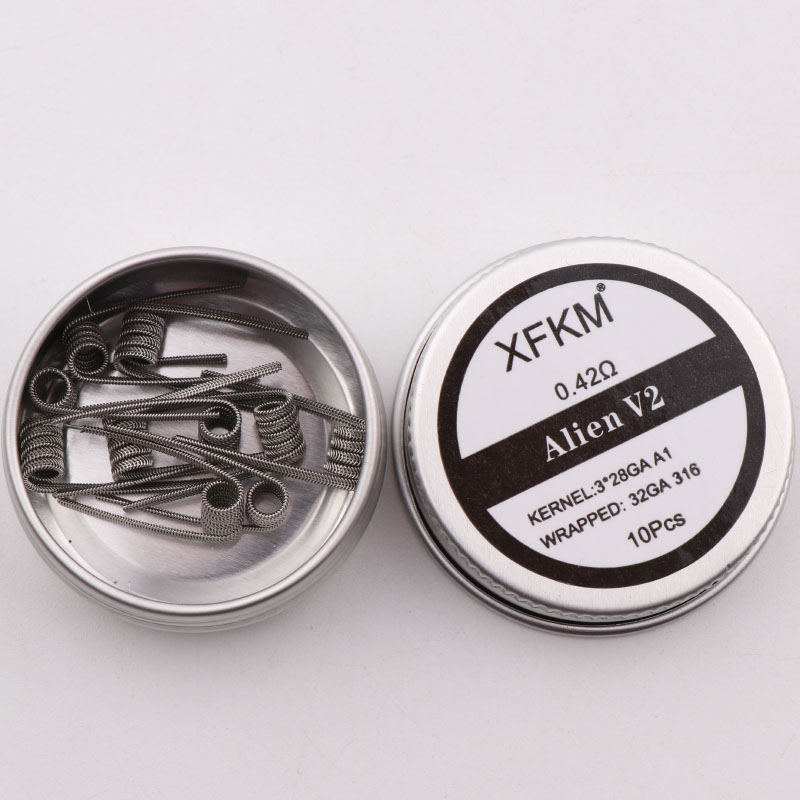 NEW XFKM NI80 A1 SS316L 10pcs/lot Prebuilt Coil ALIEN V2 wire coils Heating Resistance Wire Fit RDA RDTA DIY Atomizer