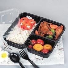 Neueste 10 stücke 1000 Ml Schwarz Einweg LunchBox Lebensmittelbehälter Snack Verpackung Boxen Mikrowellen PP Mittagessen Bento Box