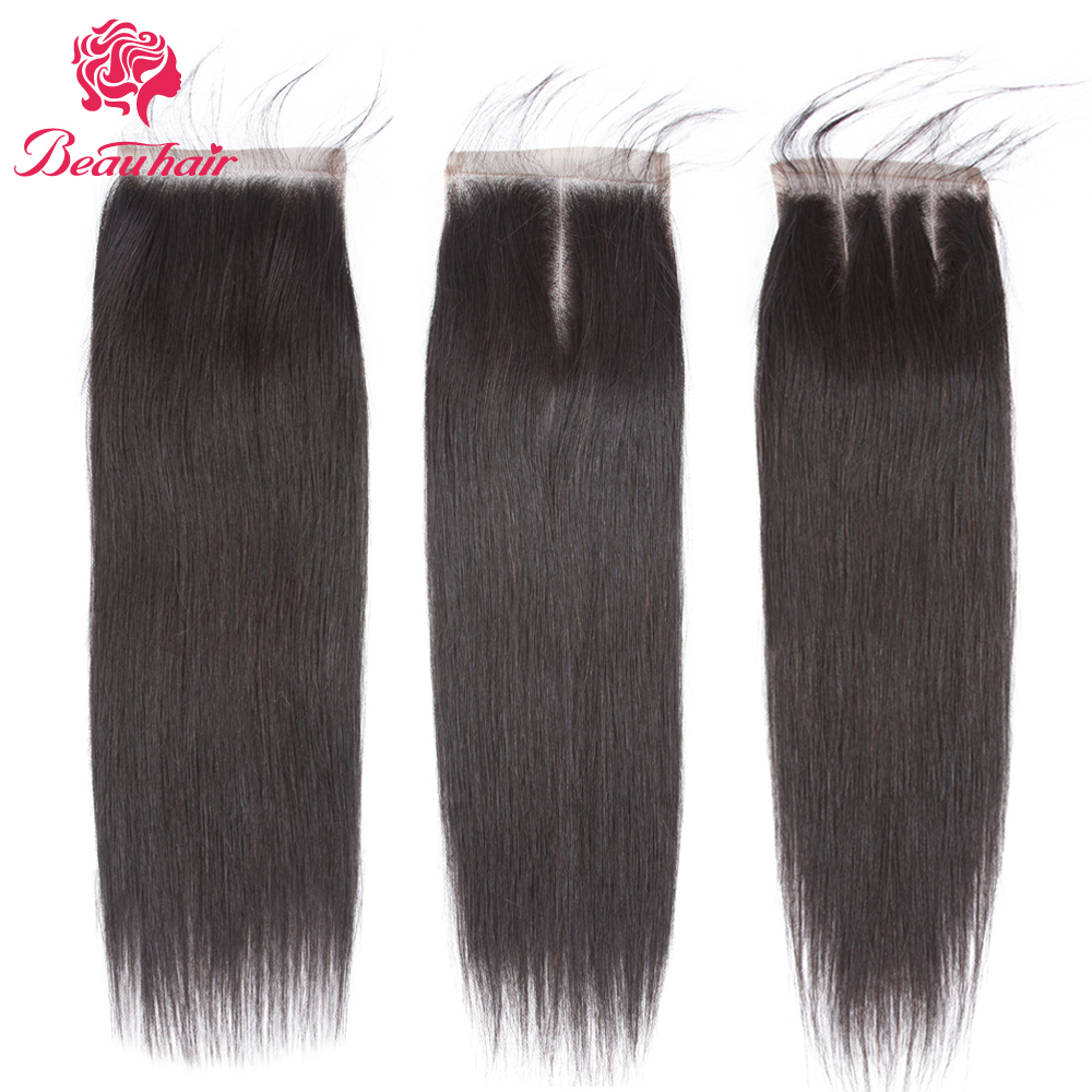 Beau Hair 4 x 4 Brazilian Closure Straight Human Hair Free/Middle/Three Part Lace Closur ...