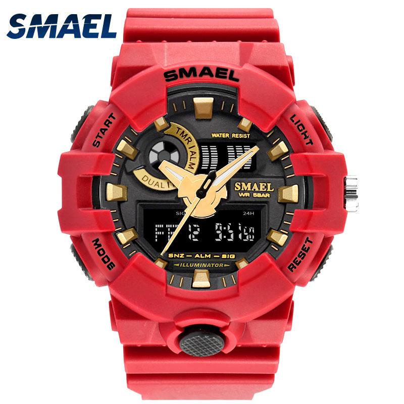 SMAEL Red Sport Men Watches Man Fashion Cool Multifunction SHOCK Waterproof Relogio Masculino LED Wristwatch Uhren Clock 1642