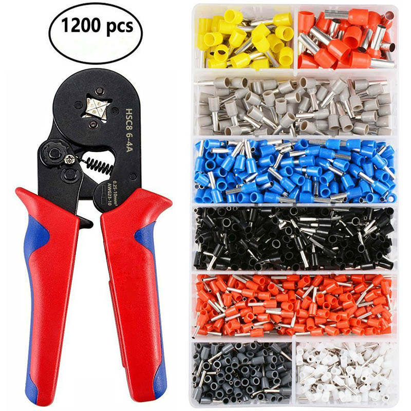 1200pcs Wire Terminal Crimp Connector Insulated Uninsulated Wire End Ferrules ALI88 hs 16 ratchet terminal crimper for non insulated awg16 6 with 10 1 4 22 16ga wire ring terminal connector uninsulated