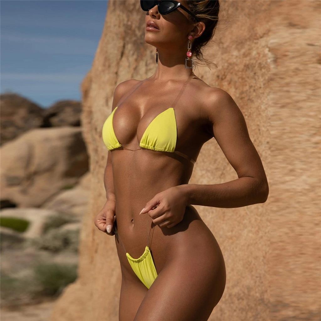 HTB1NYqETCzqK1RjSZFjq6zlCFXal Transparent micro bikini 2019 Sexy thong swimsuit separate Bandeau Bikini Set Push-Up Clear Strap Brazilian Swimwear Biquini #H