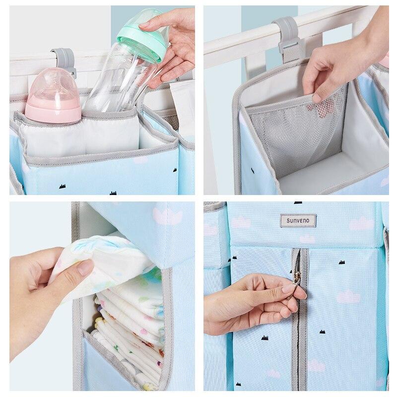 SUNVENO Portable bébé berceau organisateur lit sac suspendu pour bébé essentiels couche de stockage berceau sac ensemble de literie couche Caddy - 5