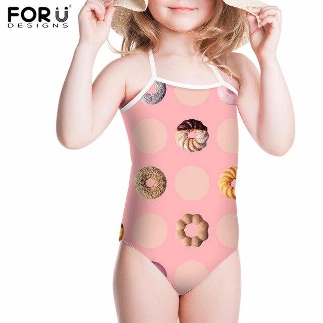 bf34cd5d15 FORUDESIGNS Girls Swimsuit Children Bikini One Piece Swimwear Kawaii Cookie  Donuts Printing Kids Swimsuit Fused Bathing Suit