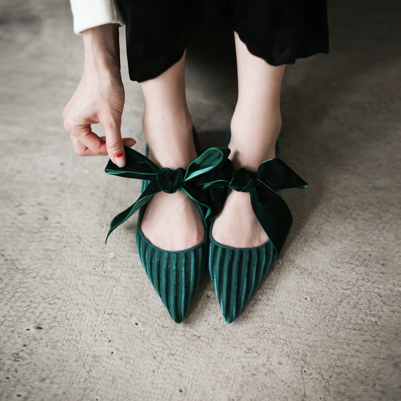 Womens Velvet Pointy Toe Sweet Bowknot Sweet Flats Slippers Shoes Mules Flats