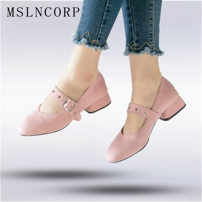 Plus Size 34-48 Spring Women Mary Janes Shoes Square Toe Buckle Shoes Med Square Heels Zapatos Mujer Casual Loafers Shoes цена и фото