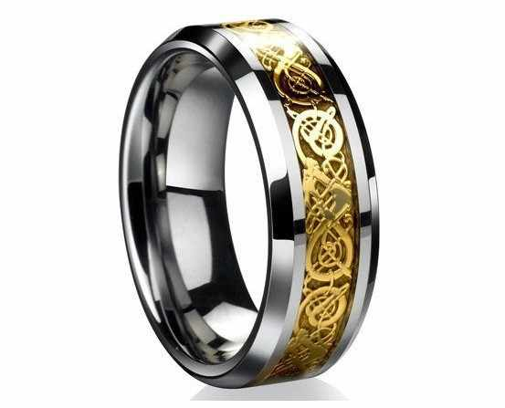 free shipping Valentine's Day Vintage Chinese Dragon stanless steel gold color Ring for Men lord Wedding Band new punk ring