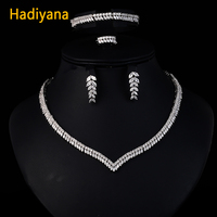 Hadiyan 2018 Yellow Gold Jewelry Set With AAA Cubic Zirconia New Gorgeous Woman 4pcs Necklace Sets Color Plated Guaranteed CN206