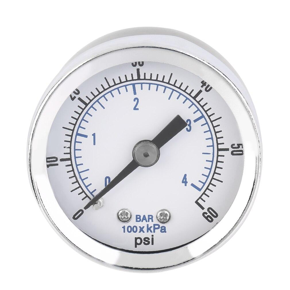 1/8'' NPT Air Compressor Hydraulic Pressure Gauge 0-60 PSI Back Mount
