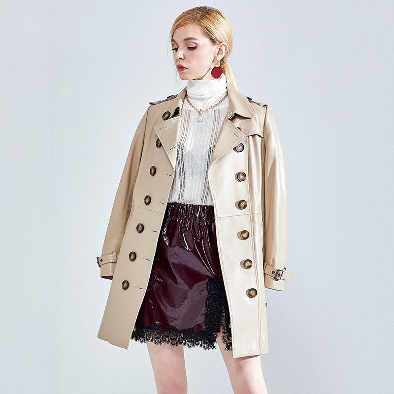 Véritable Nouveau Sand Ceinture À Femmes Long Avec Warm 2019 Arrivée Peau Boutonnage Color Double Trench Cuir De Mouton En Soft Printemps Classique Naturelle Veste B4tOqdPww