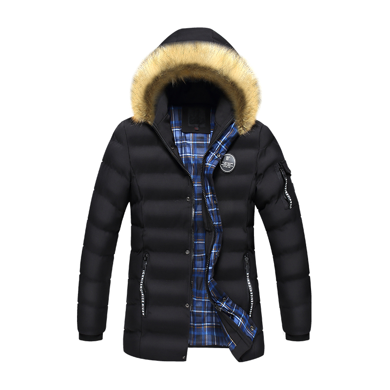New Men Winter Jacket Parka Fashion Thick Cotton Padded Fur Hooded Down Jackets Black Male Warm Outerwear Long Coats