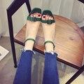 Summer new Roman Coreana suede chunky tacones punta cuadrada bombas de la hebilla del dedo del pie abierto gladiador sandalias mujer tobillo del abrigo verde bombas