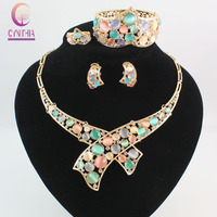 Austrian Crystal Circle Opal Peacock Jewelry Sets 18K Gold Peacocks Necklace Earrings Bangle Ring Set For