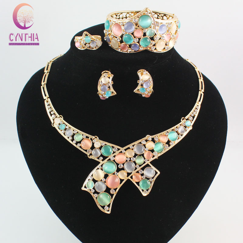 Austrian Crystal Circle Opal Peacock Jewelry Sets Gold Peacocks Necklace Earrings Bangle Ring Set For Women