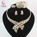 Círculo de Cristal austriaco Opal Pavo Real Sistemas de la Joyería de Oro de Los Pavos Reales Collar Pendientes Anillo Bangle Set Para Las Mujeres Del Regalo Del Partido