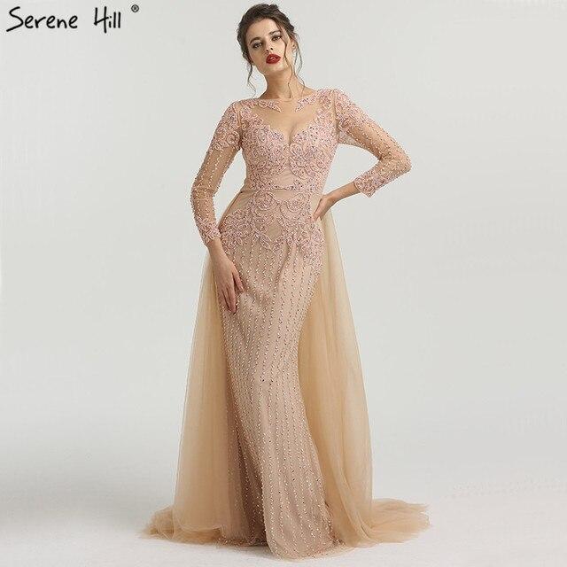 מוסלמי בת ים ארוך שרוולי שמלות ערב עם רכבת 2019 ואגלי ואגלי יוקרה Sparkle פורמליות ערב שמלות 2019 LA6547