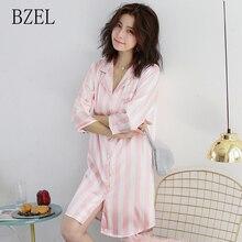BZEL 여성을위한 여름 세련된 나이트 가운 귀여운 캐쥬얼 숙녀 홈웨어 아늑한 새틴 잠옷 턴 다운 칼라 스트라이프 Feminino Pijamas