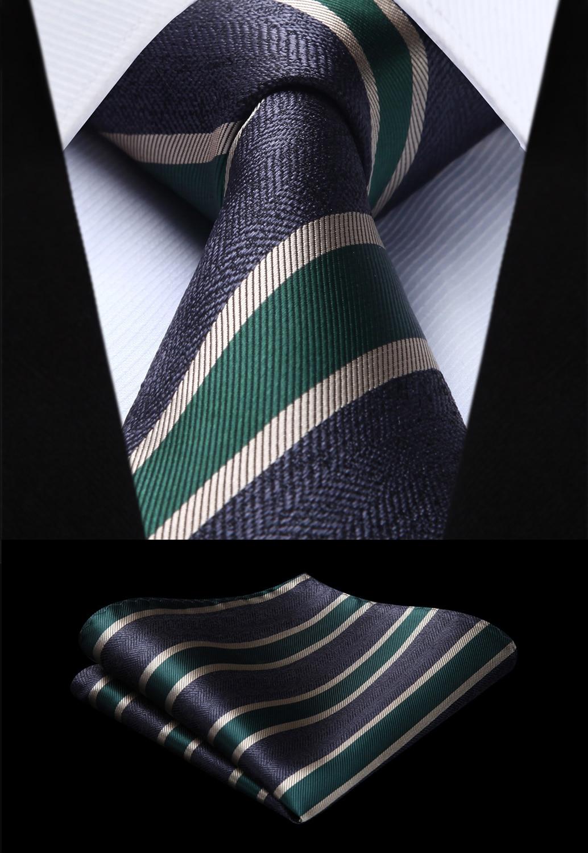 8c4407bed18e Party Wedding Classic Fashion Pocket Square Tie Woven Men Tie Navy Blue  Green Striped Necktie Handkerchief Set#ts802g8s Men's Ties & Handkerchiefs