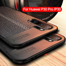 Luxury Rugged Soft TPU Silicone Phone Case For Huawei P30 Pro P 30 Lite Protection Leather Litchi Pattern Shockproof Back Cover