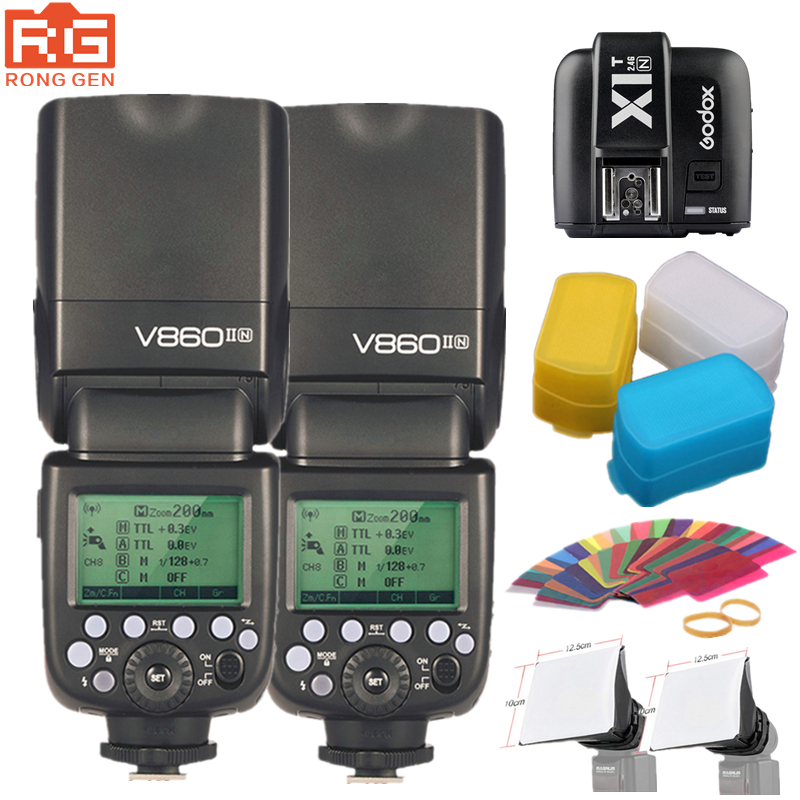 Godox V860IIN 2.4G Wireless GN60 HSS 1/8000s TTL Flash Speedlite + X1T-N Trigger for Nikon D80 D90 D7000 D7100 D5100 D5200 D3100 mifo i8 bluetooth earphone magnetic suction charging wireless headset in ear earpiece sports stereo music earphones for phones