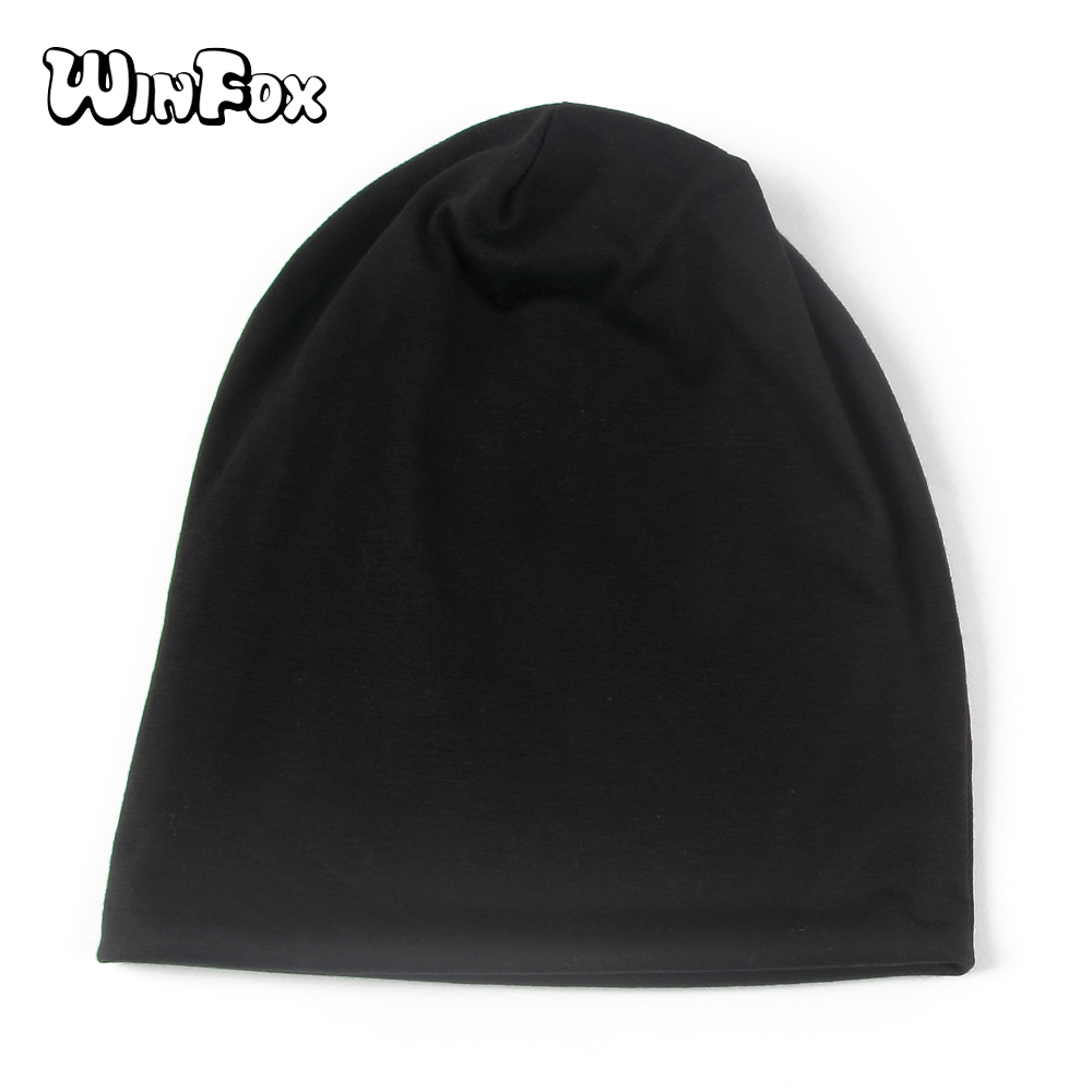 Winfox New Black White Red Navy Army Green Plain Color Jersey Beanies Hats Caps For Mens Womens